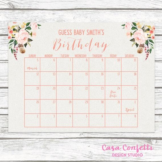Boho Due Date Calendar Guess Bas Due Date Ba Shower