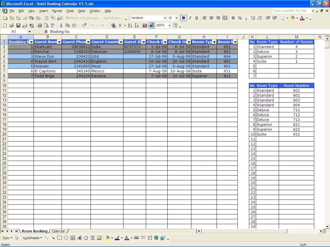 Booking Calendar Excel Templates3abry