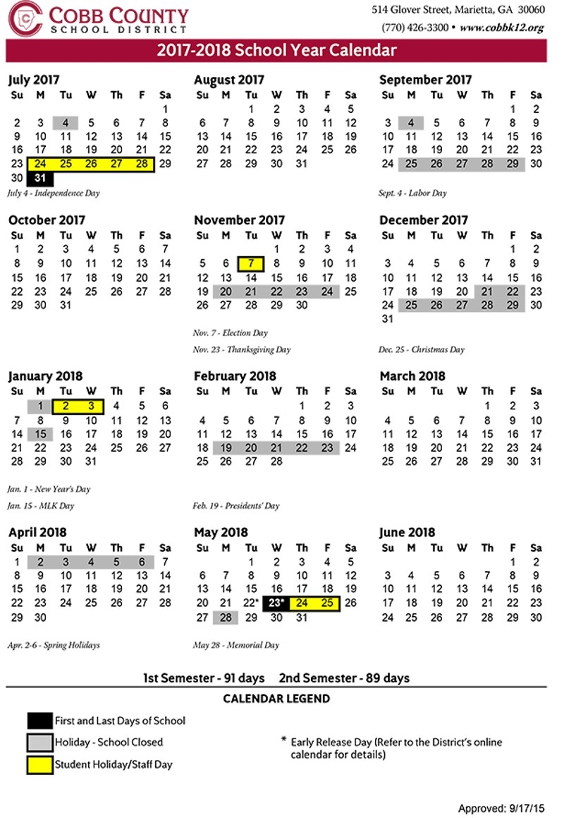 Cobb County Schools 2017 18 Calendar