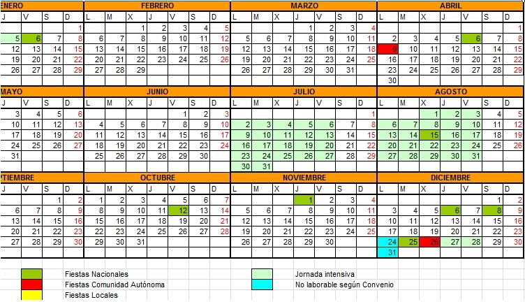 Descargar Calendario Laboral 2012 En Excel