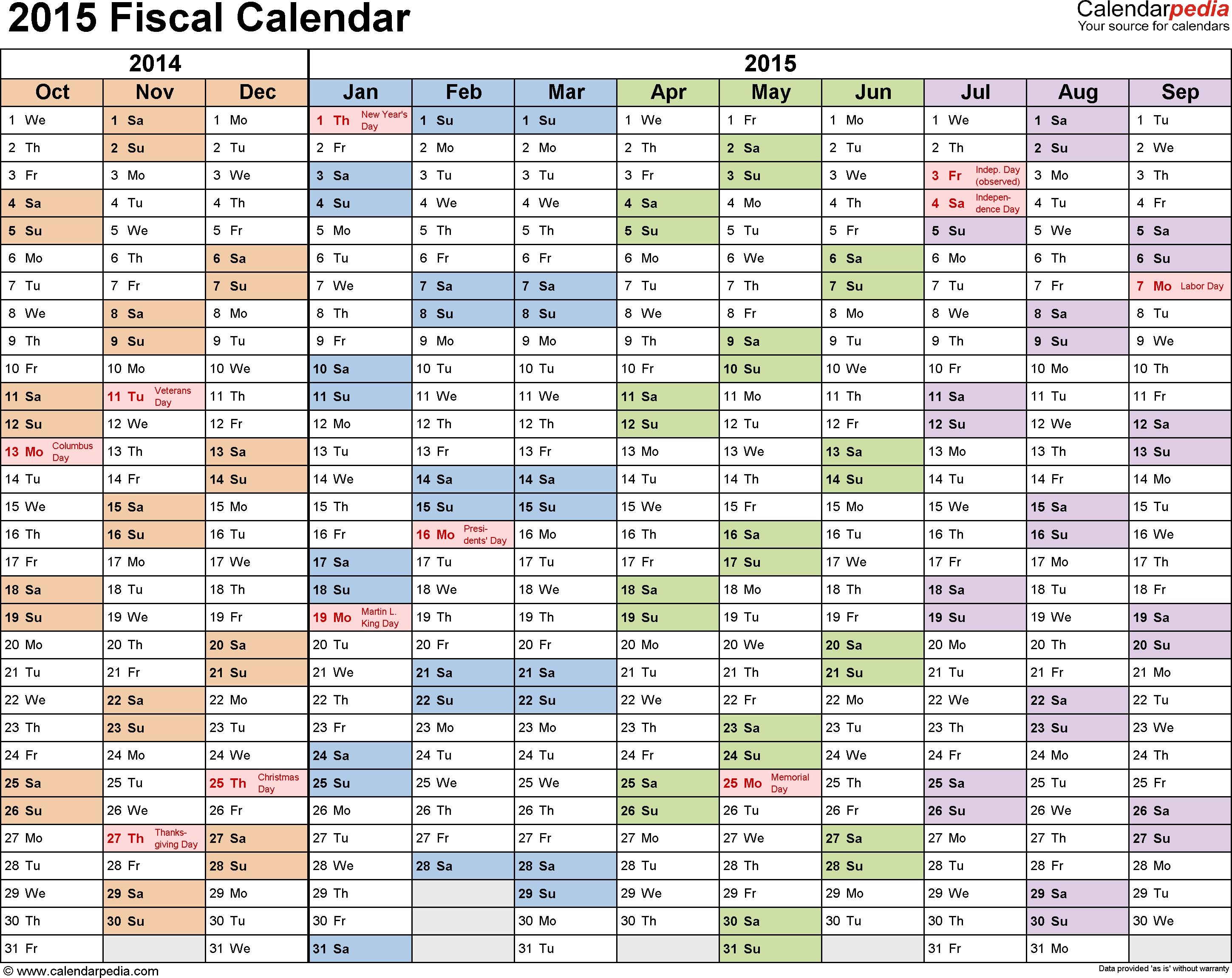 Fiscal Calendars 2015 As Free Printable Pdf Templates
