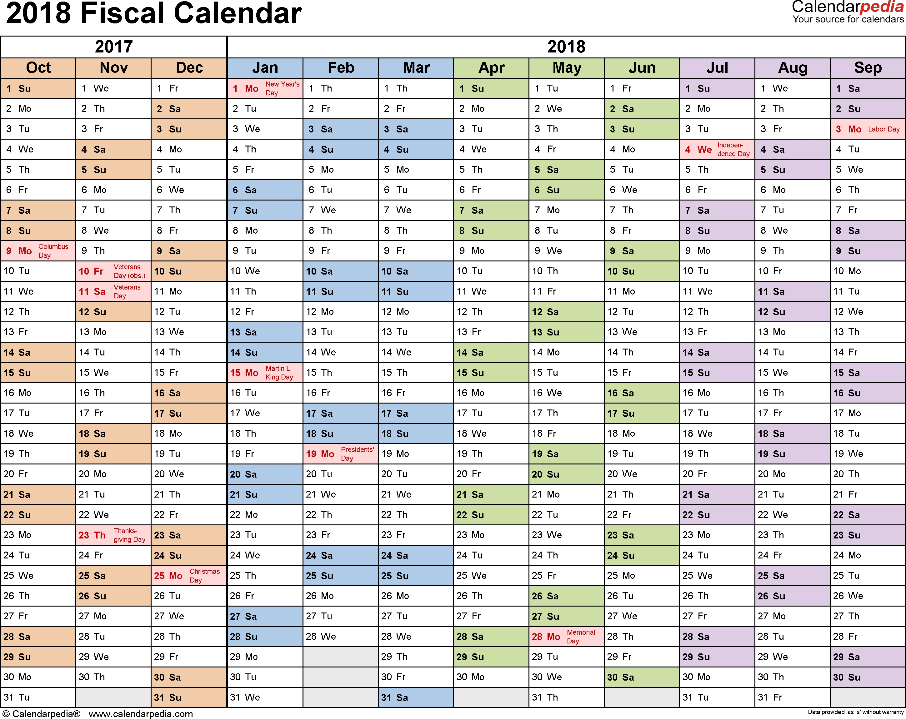 Fiscal Calendars 2018 As Free Printable Pdf Templates