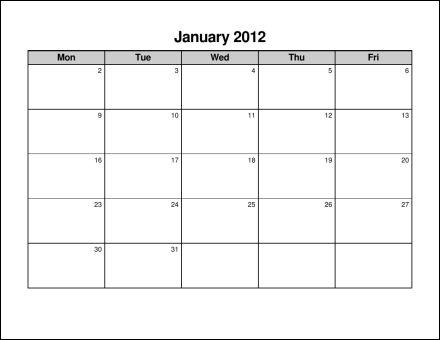 Free Monday Through Friday Calendar Template Calendar Template 2017