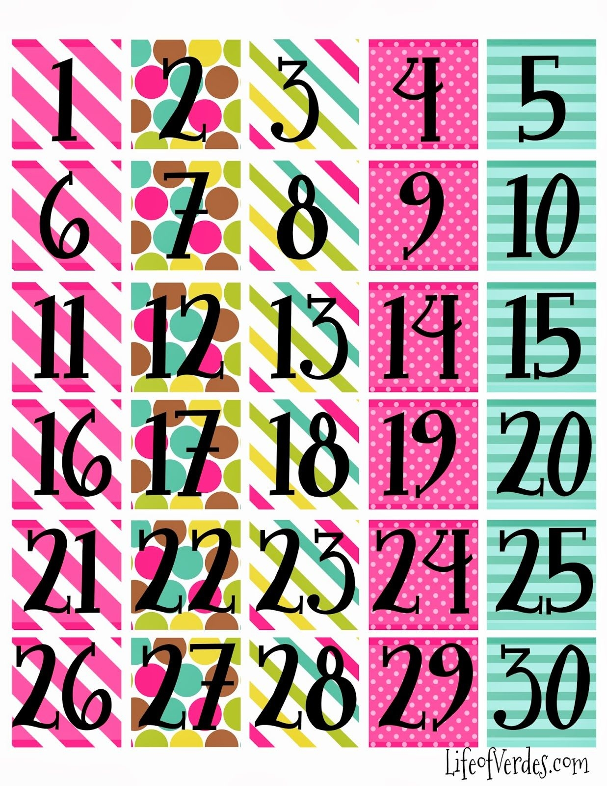 Freeprintablecalendarnumbers Household Info Pinterest