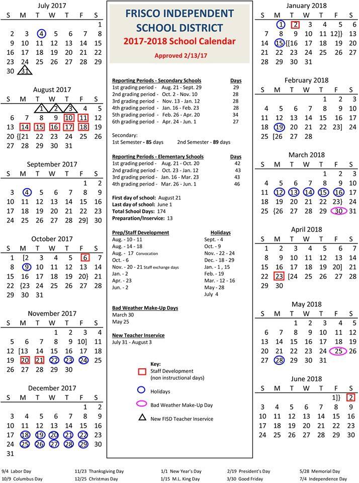 Frisco Isd Approves 2017 18 School Calendar Community Impact
