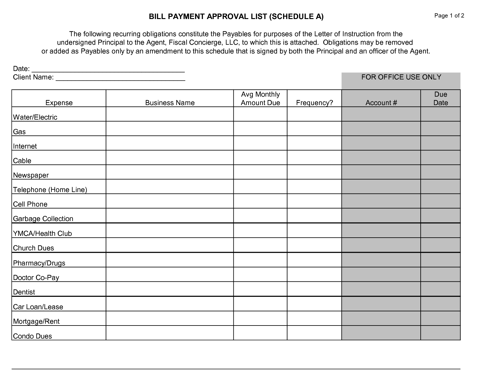 Impressive Monthly Bill Payment Schedule Template For Business