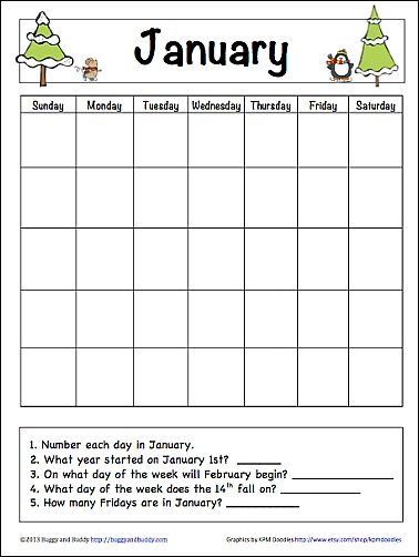 January Learning Calendar For Kids Free Printable Free