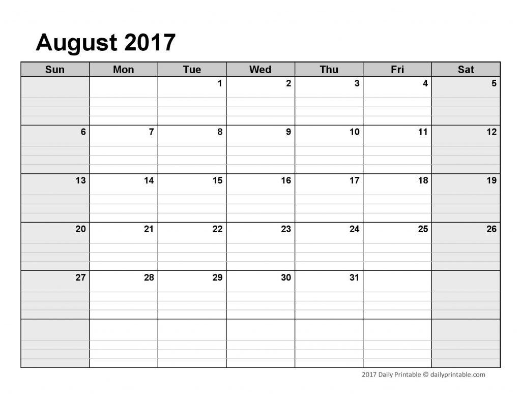 Lined Monthly Calendar Print Calendar 2018