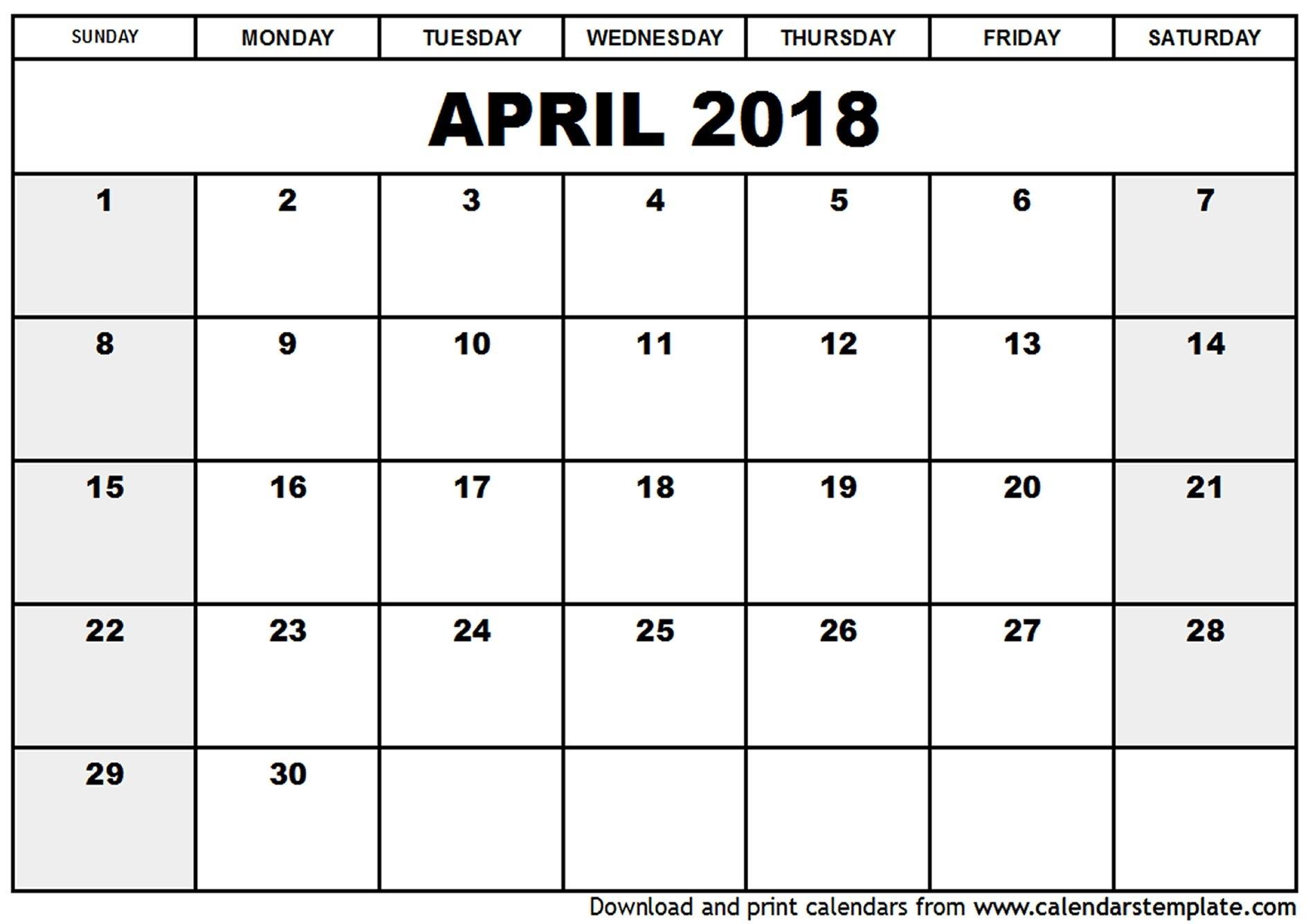 March April 2018 Calendar Printable Yspages