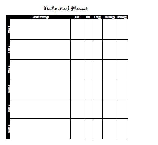 Meal Calendar Free And Printable Templates