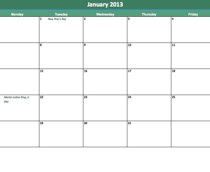 Monday Thru Friday Calendar Template Fieldstationco