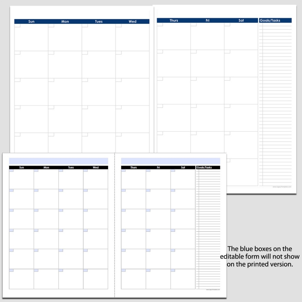 Monthly 2 Page Perpetual Calendar With Tasks 8 12 X 113abry