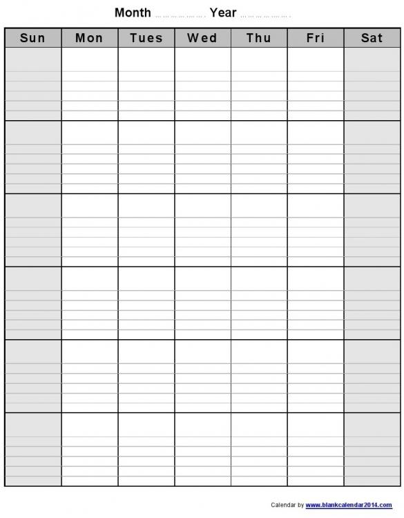Monthly Calendar Blank Fieldstationco