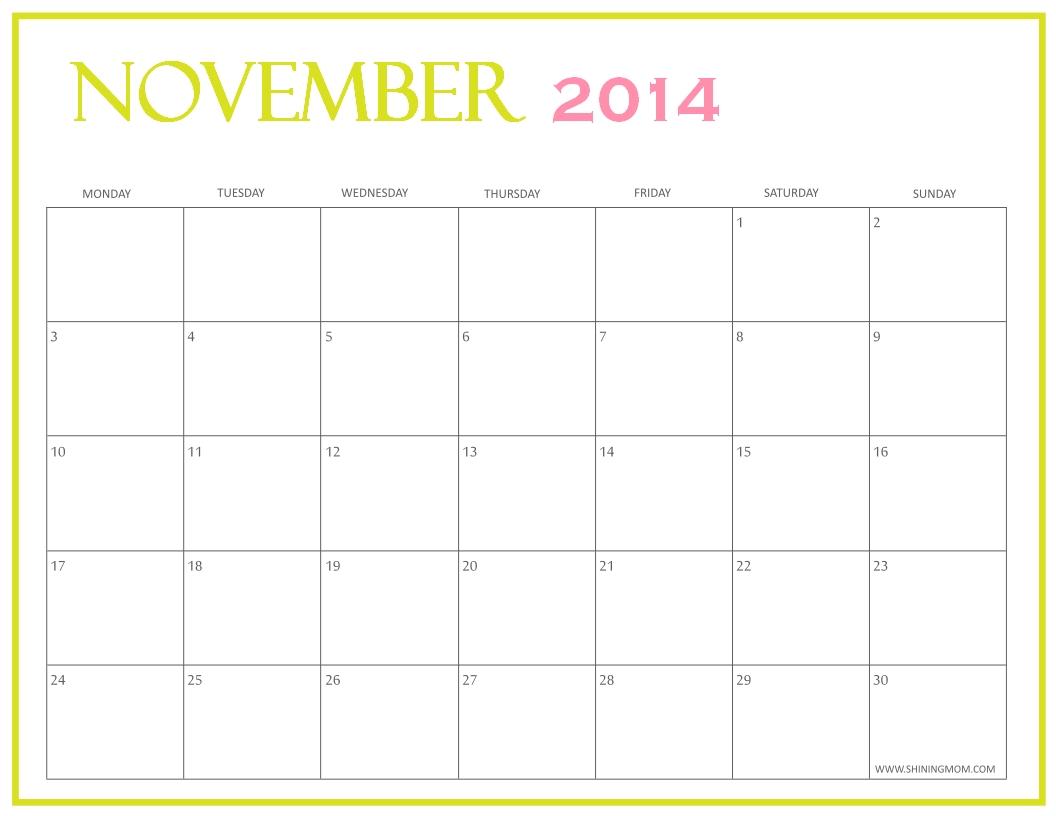 November 2014 Printable Calendar Printable Calendar 89uj