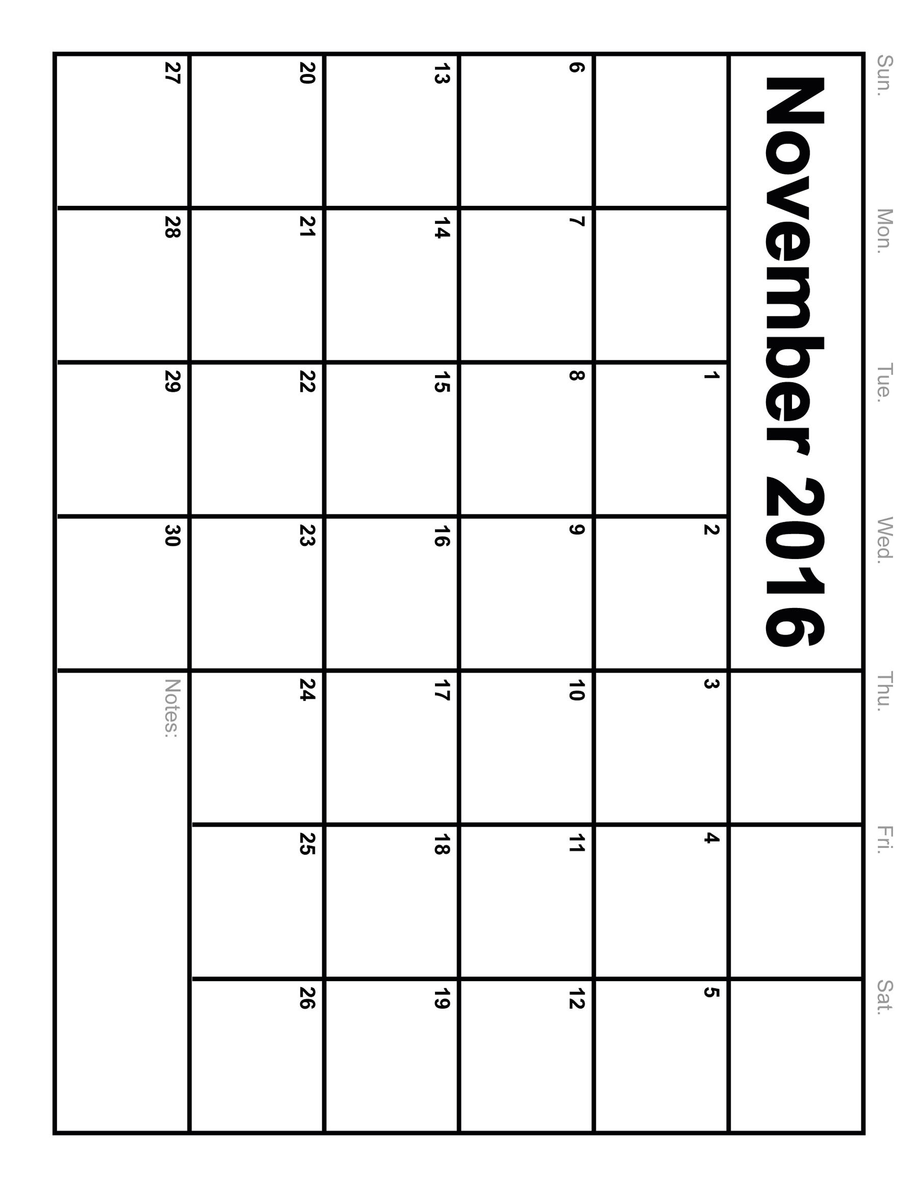 November 2016 Calendar Printable Monthly Blank Calendar 20163abry