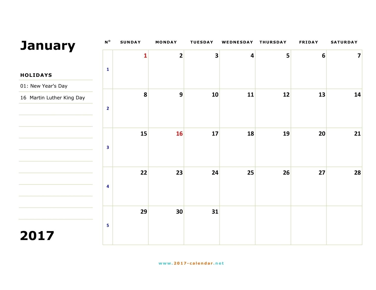 Printable 2017 Calendar