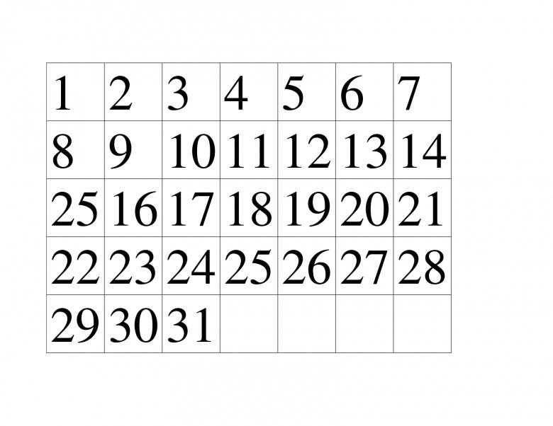 Printable Calendar Numbers 1 31 Free Calendar Template