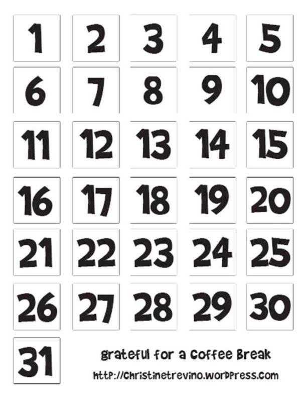 Printable Calendar Numbers Onlyagame