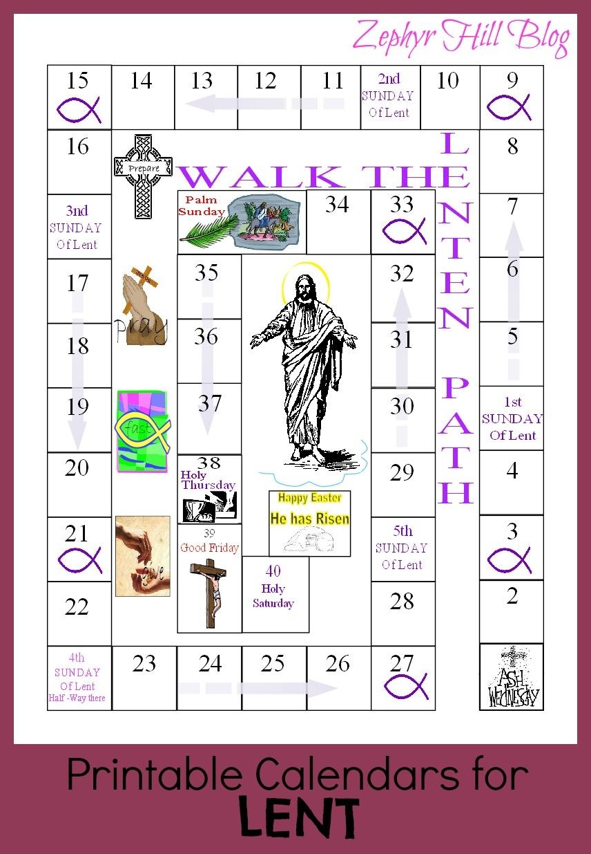Printable Lenten Calendars For Kids Zephyr Hill3abry