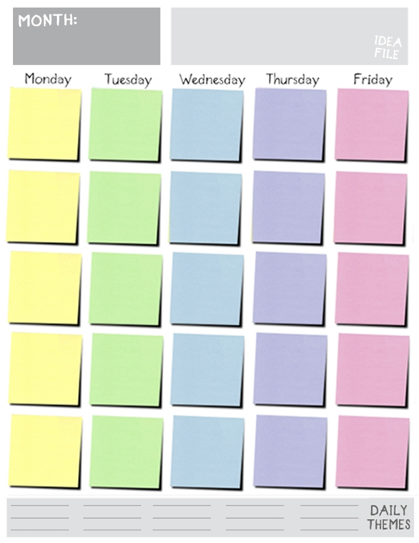 Printable Monday Friday Blank Calendar Blank Calendar Design 2017