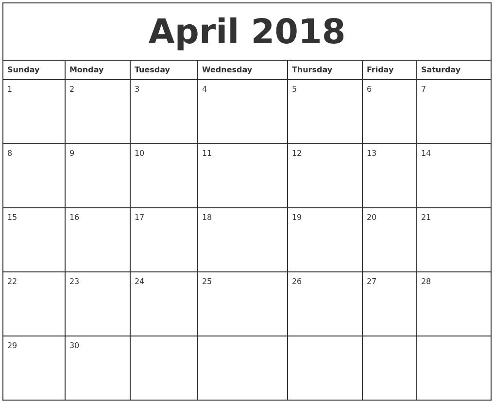 Printable Monthly Calendar April 2018 Journalingsage