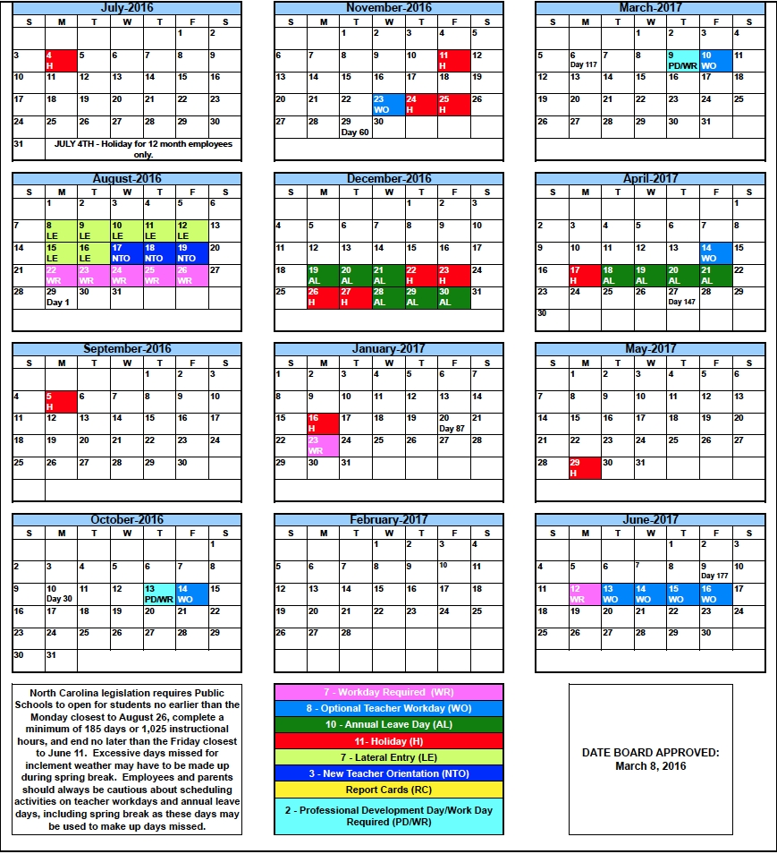 Rcs Calendars For 2016 2017 Rutherford County Schools