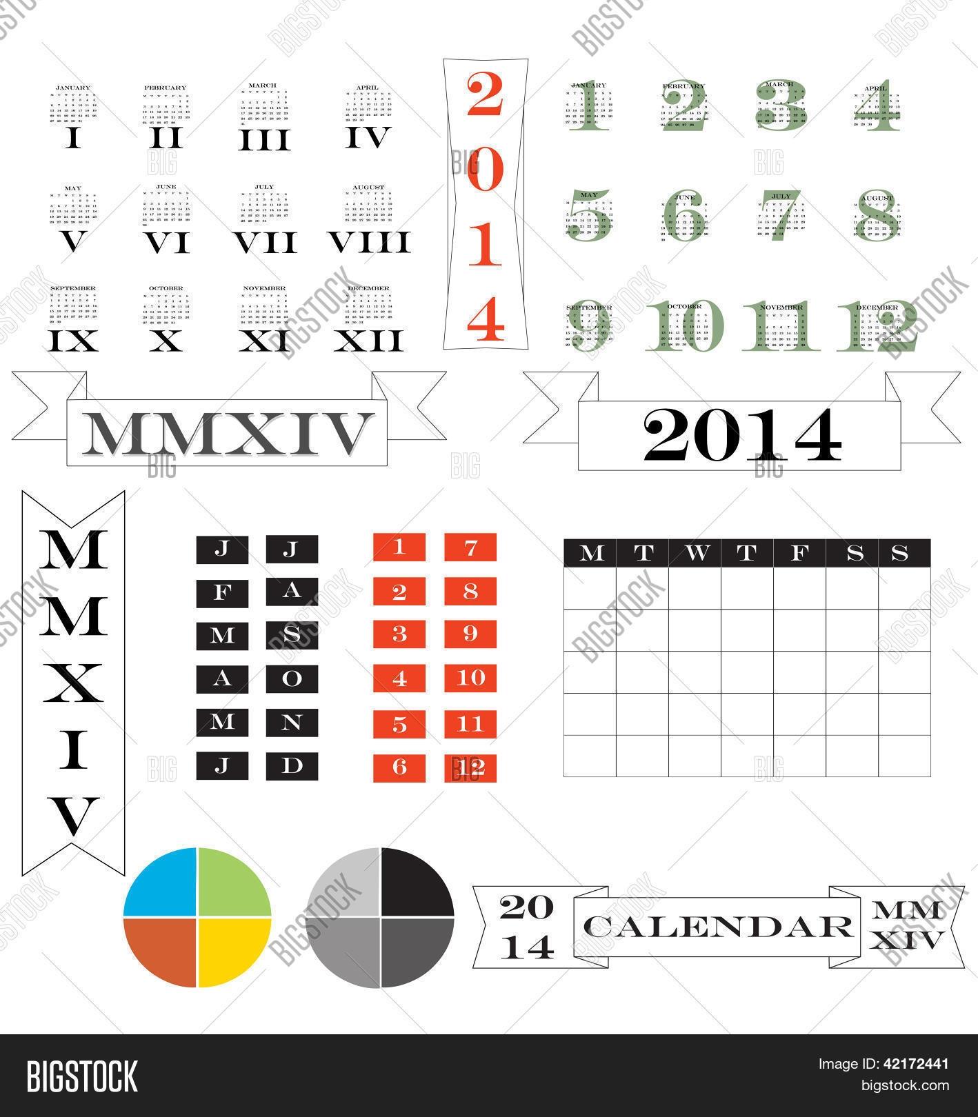 Roman Numerals Calendar Elements Vector Photo Bigstock3abry