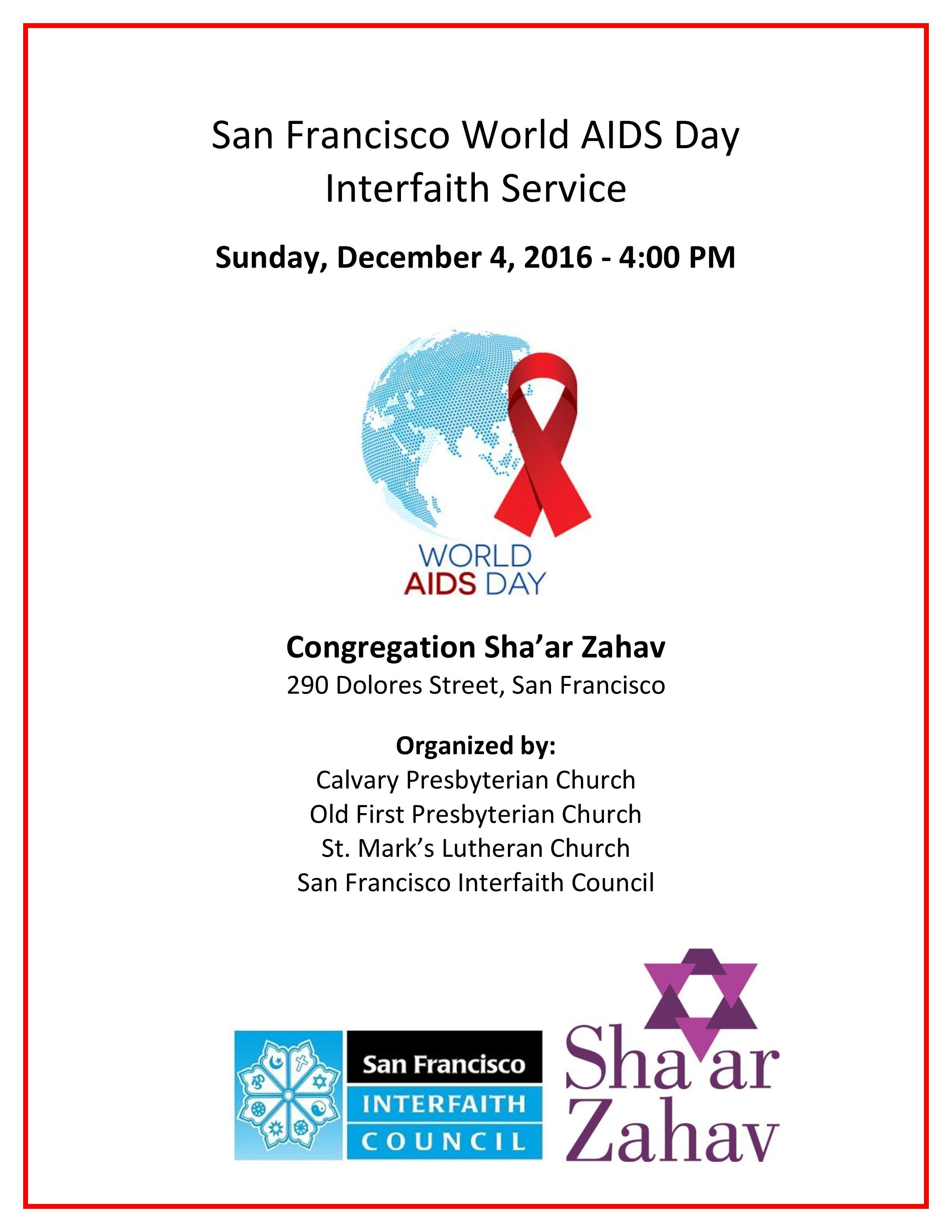 San Francisco World Aids Day Interfaith Service San Francisco  Xjb