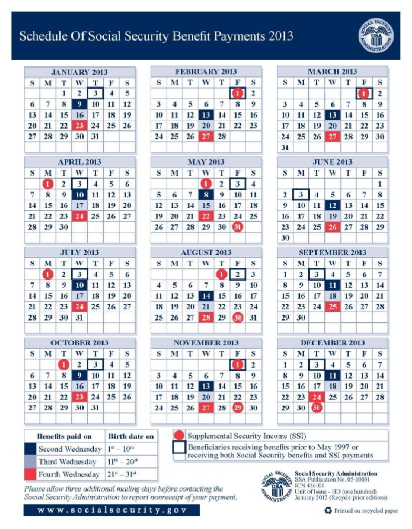 Ssi Payments Calendar Free Calendar Template
