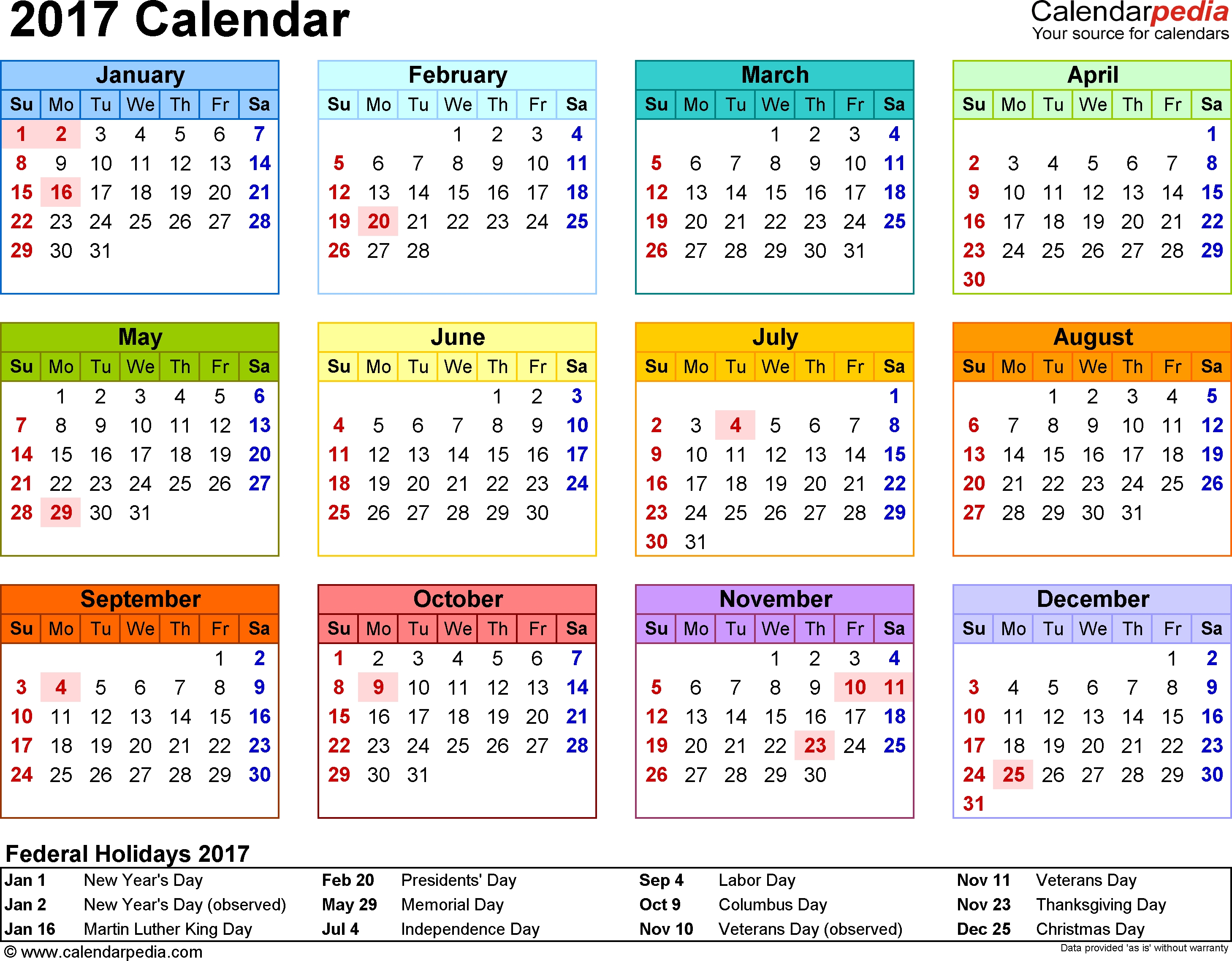 Template 8 2017 Calendar For Word Year At A Glance 1 Page In3abry