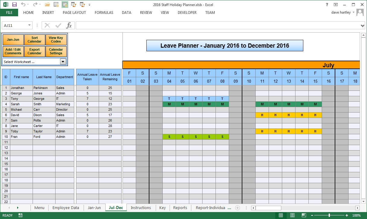 The Staff Leave Calendar A Simple Excel Planner To Manage Staff 89uj