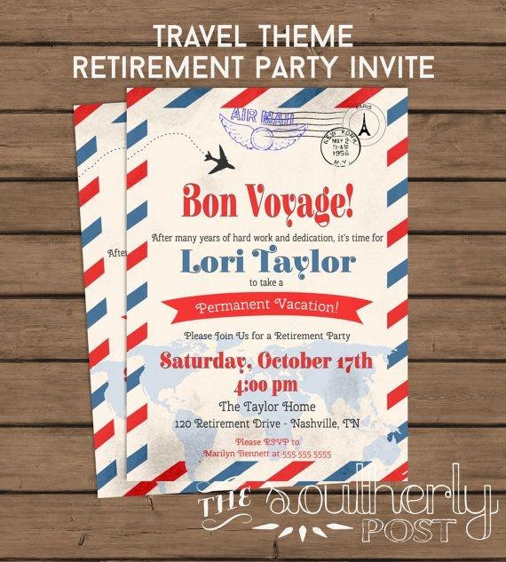 Travel Theme Retirement Party Invitation Bon Southerlypost