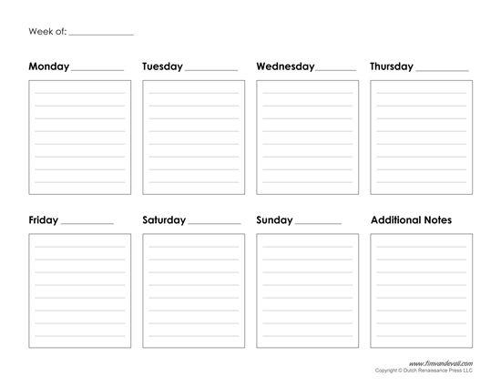 Week Calendar Printable Fieldstationco