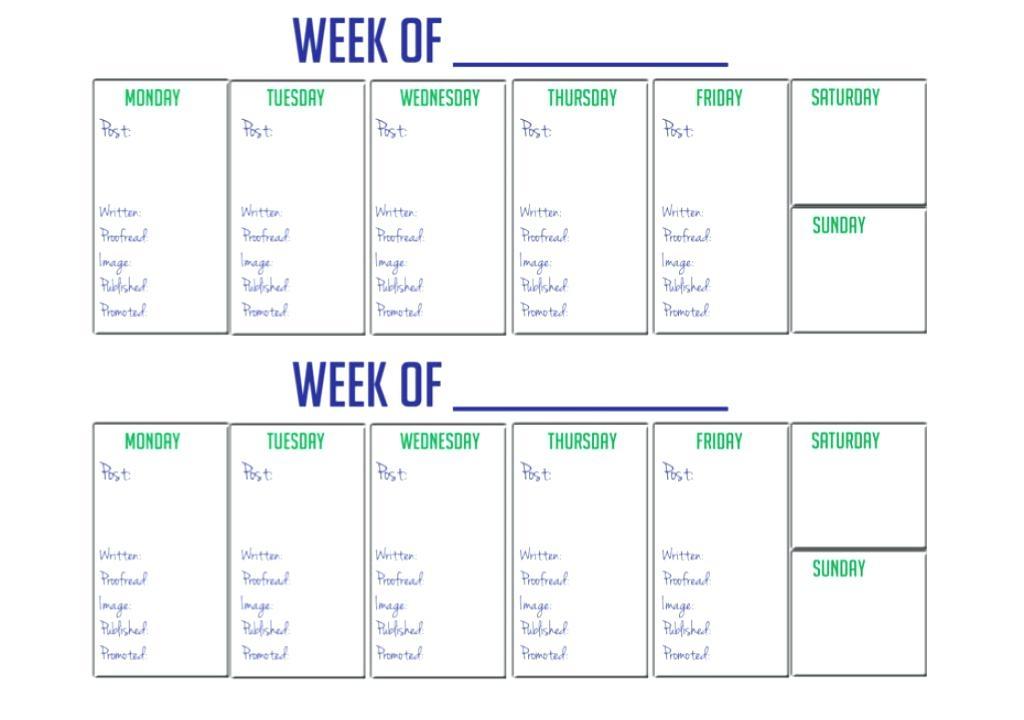 Week Calendar Printable Free Two Week Calendar Template Free