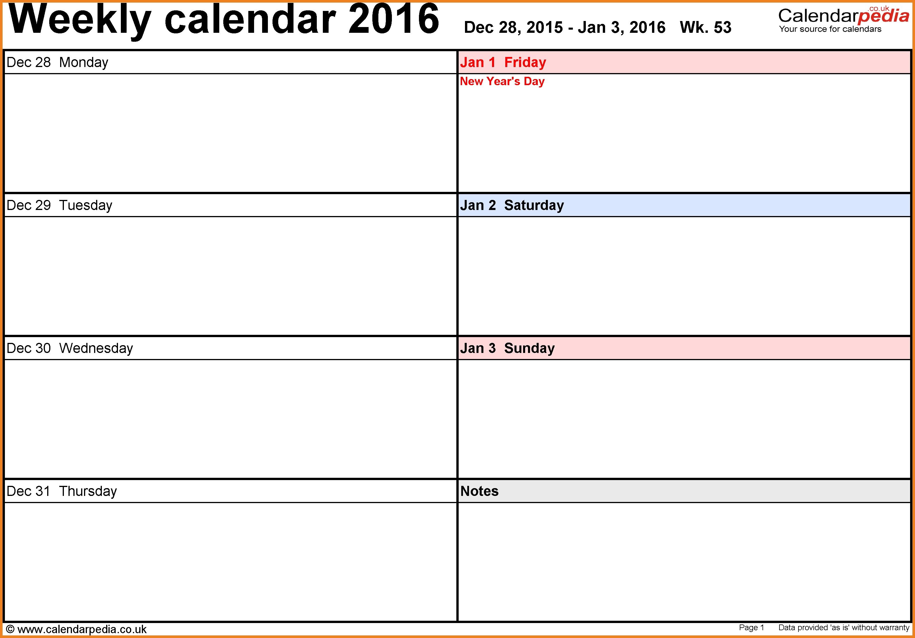 Week Calendar Template Teller Resume Sample  Xjb