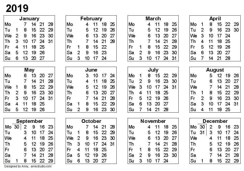 Week Number Calendar 2018 Asafonggecco
