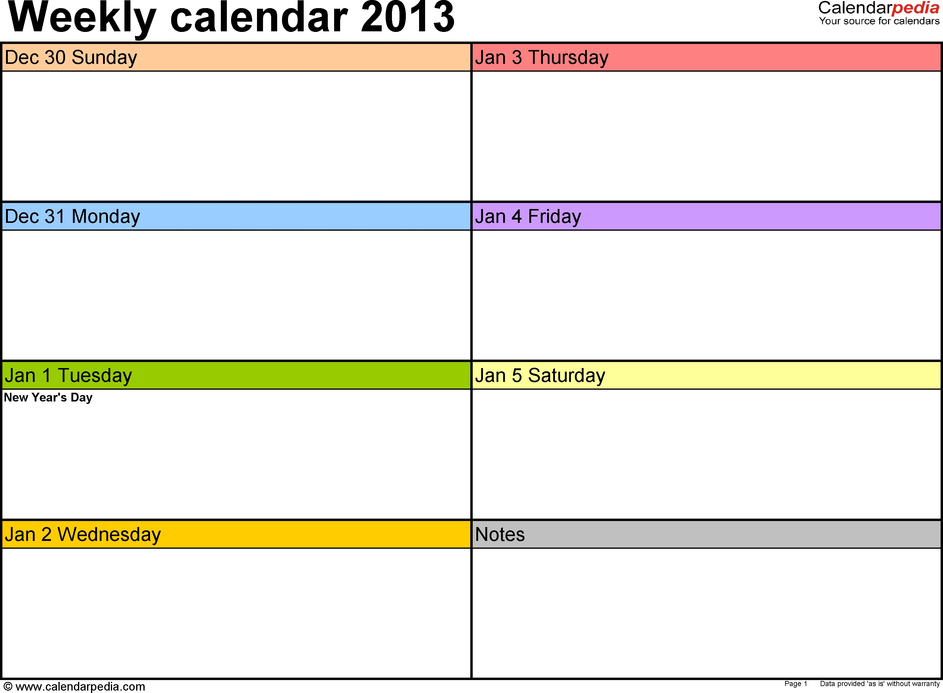 Weekly Calendar 2013 For Word 4 Free Printable Templates3abry
