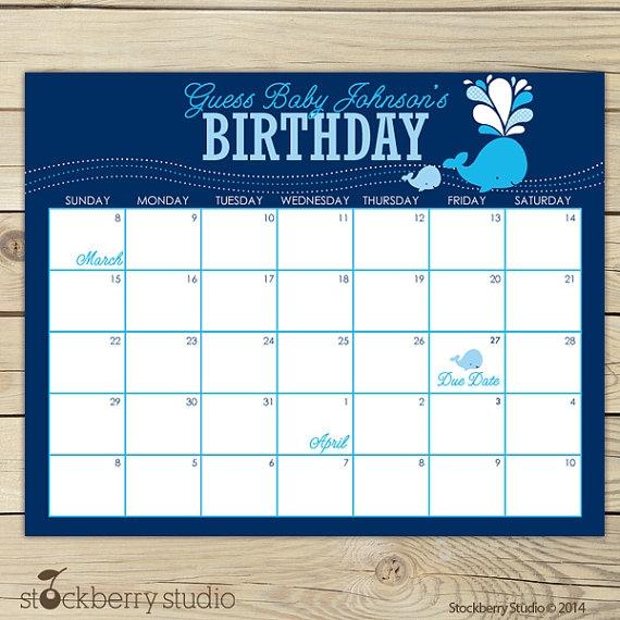 Whale Ba Shower Guess The Due Date Calendar Boy Ba