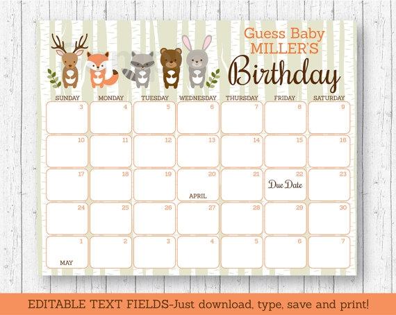 Woodland Animal Ba Shower Due Date Calendar Woodland Ba