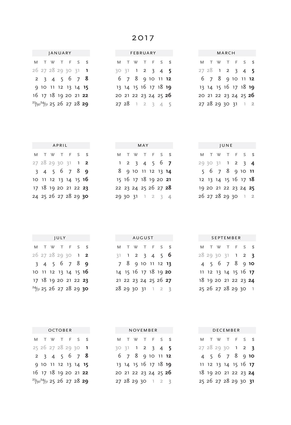 Year At A Glance Printable Calendar 2017 Asafonggecco