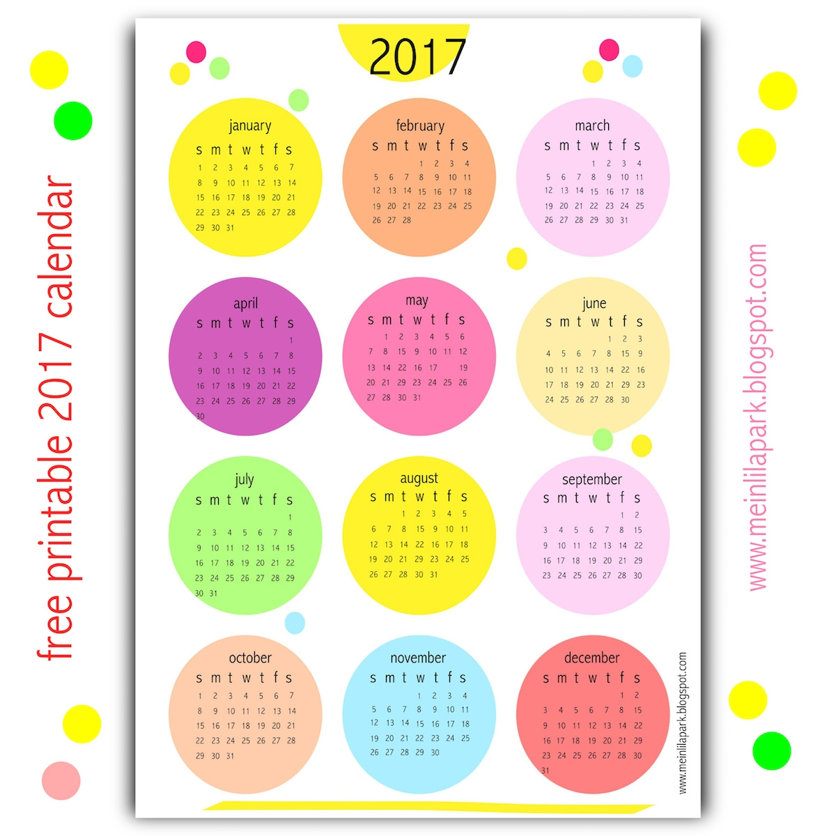Yes I Created Another Free Printable 2017 Calendar For You