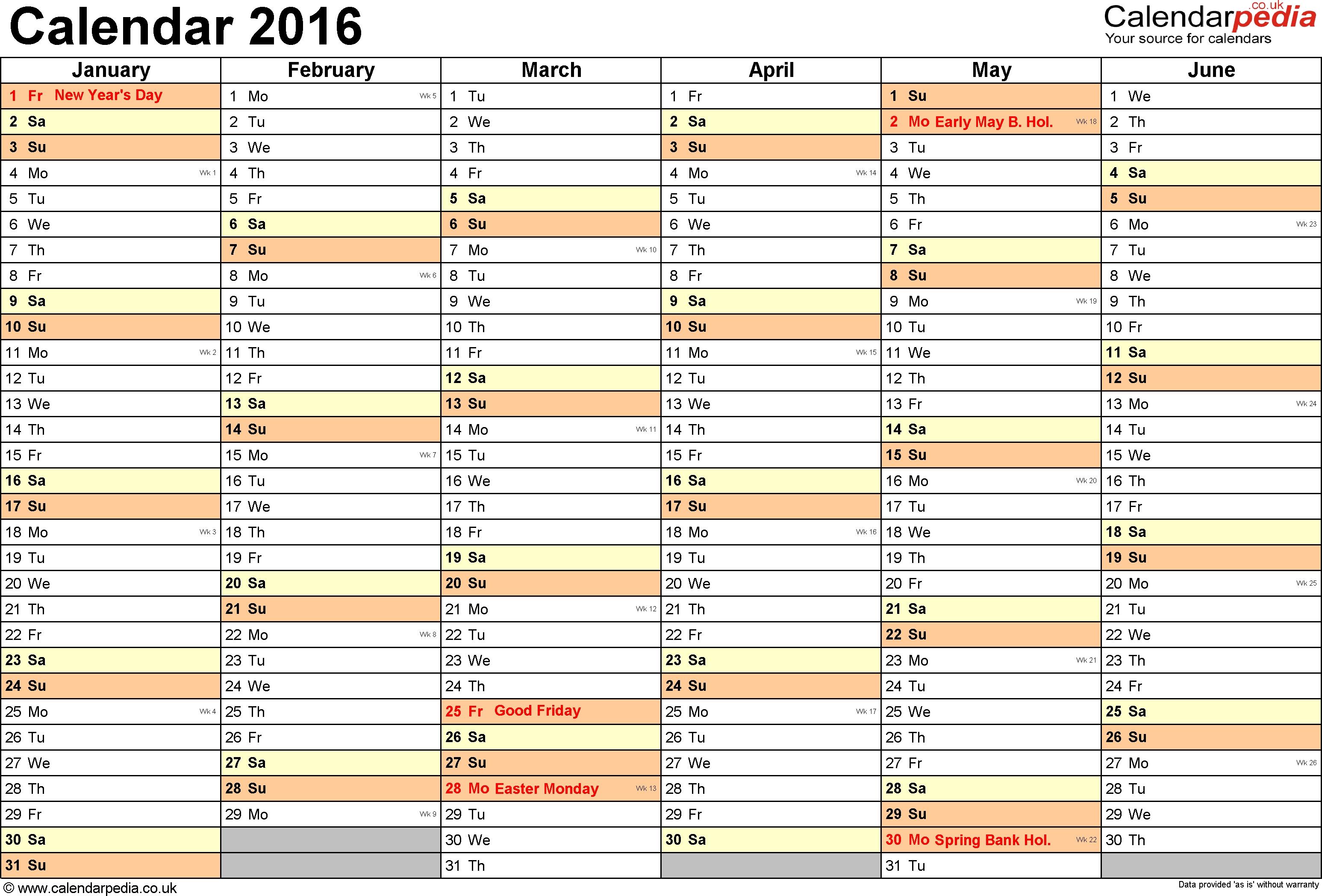 2016 Blank Calendar Editable  Xjb