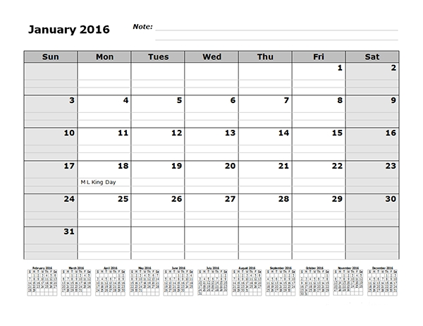 2016 Monthly Calendar Template With 12 Months At Top Free