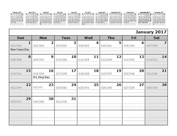 2017 Monthly Julian Calendar 12 Months Top Free Printable Templates