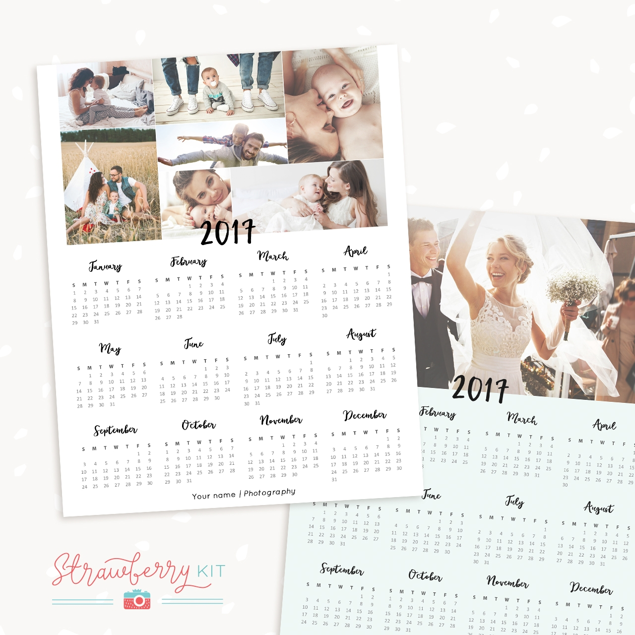 2017 One Page Calendar Template For Photographers Strawberry Kit
