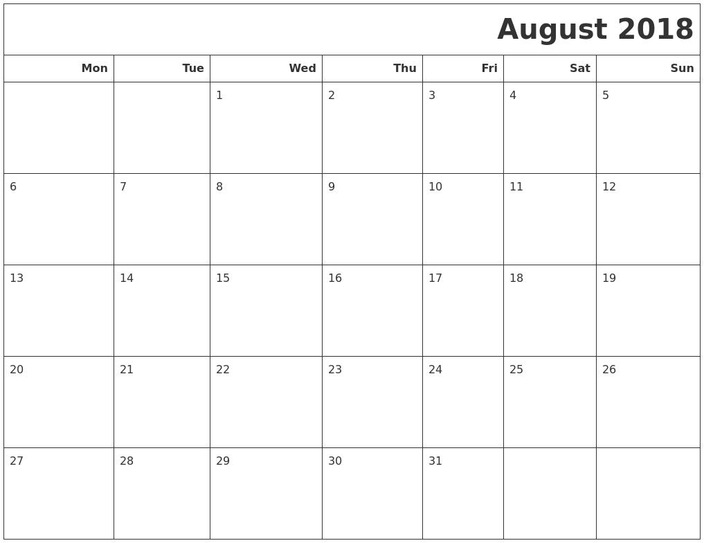 2018 Calendars To Print3abry