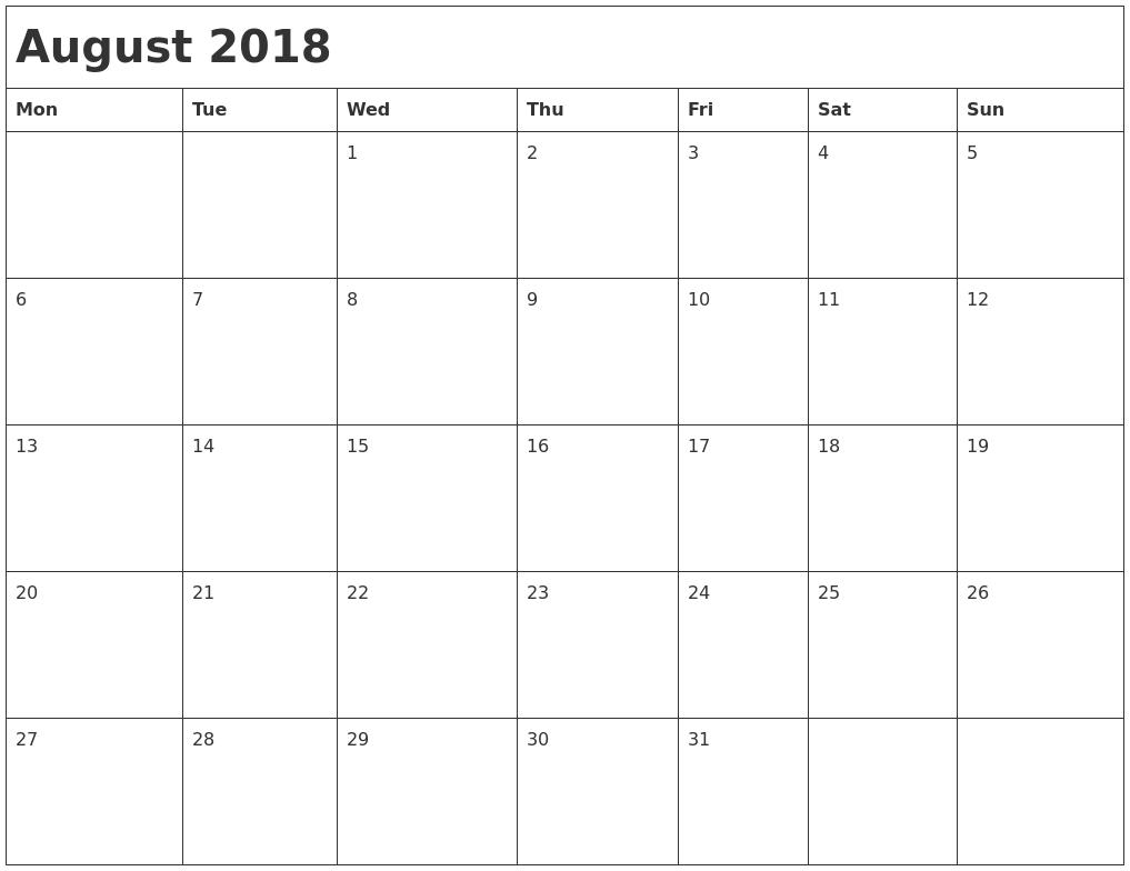 2018 Month Calendar3abry