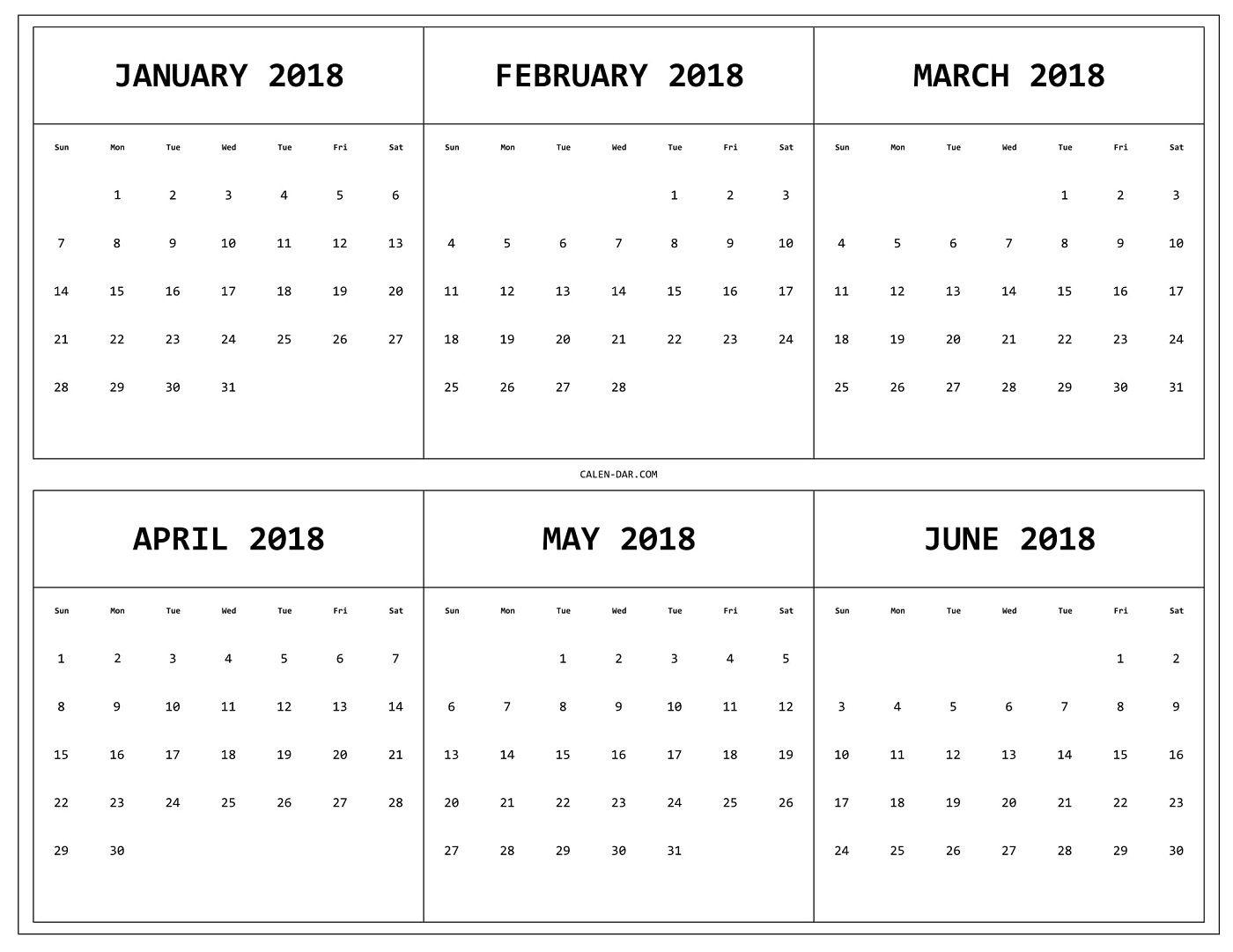 6 Month 2018 Calendar Printable 2018 Printable Calendars3abry