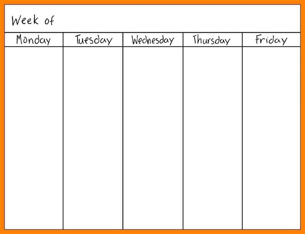 7 Monday Through Friday Calendar Daily Log Sheet