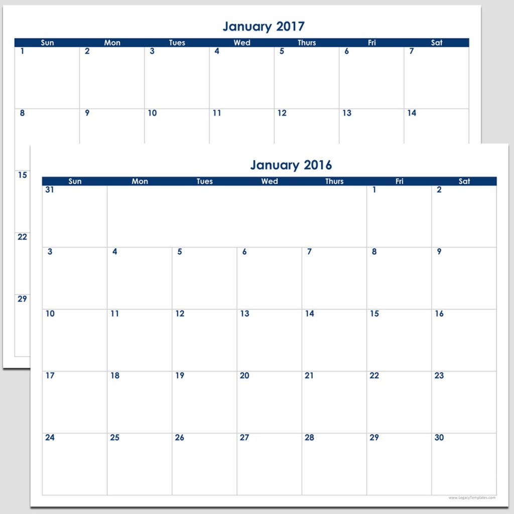 8 X 11 Blank Printable Calendar Calendar Template 2018